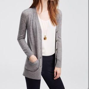 Ann Taylor Long Grey Wool Cardigan M